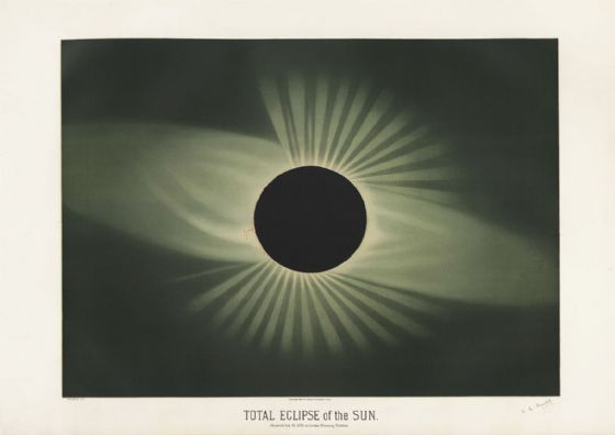 Trouvelot, Etienne Leopold: Total Eclipse of the Sun. (The Trouvelot Astronomical Drawings, 1882) Space Print/Poster. Sizes: A1/A2/A3/A4 (00105)